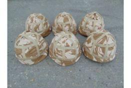 6 x British Army MK 6 Combat Helmets with desert covers