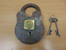 LARGE ANTIQUE BRITISH RAILWAY STEEL PADLOCK - With 2 Keys
