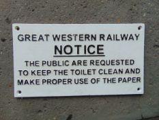CAST IRON GREAT WESTERN RAILWAY SIGN