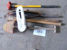 SLEDGE HAMMER, PICK AXES, HELVES, RECOVERY STROP ETC