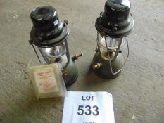 2X HURRICANE LAMPS C/W SPARES