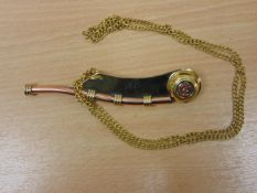 BOSON'S WHISTLE IN BRASS AND COPPER WITH CHAIN AND STORAGE BOX