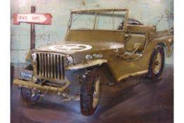 3D WW2 WILLYS JEEP PICTURE IN METAL 80 CMS x 60CMS