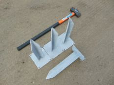 4 x Unissued Heavy Duty Ground Anchors & Silverline Fibre Shaft Sledge Hammer