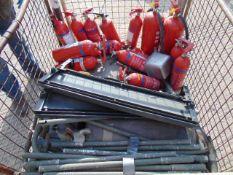 Stillage of Fire Extinguishers, Aluminium Poles, Land Rover Seats etc