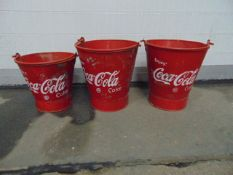 SET OF 3 COCA-COLA FIRE BUCKETS FOR PUTTING ICE/COLD DRINKS IN VERY UNUSUAL