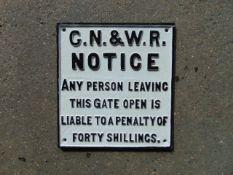 CAST IRON GN & W.R RAILWAY SIGN