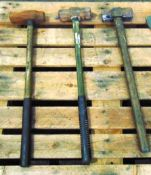3 x Heavy Duty Sledge Hammers