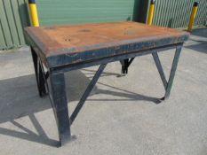 Ex MoD Heavy Duty Steel Engineering Bench L 1.6m x W 1.08m