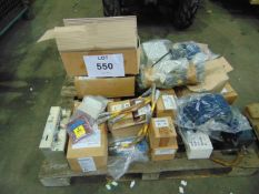 PALLET OF ARMOURED VEHICLE SPARES INC. CONTROL BOXES, CONNECTORS, ETC