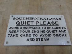 SOUTHERN RAILWAY CAST IRON SIGN