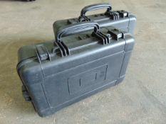 2 x Heavy-duty Waterproof Peli Style Hard Cases with Removeable Foam Inserts