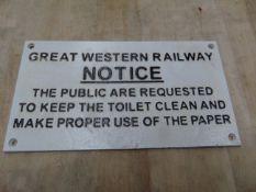 GREAT WESTERN CAST IRON RAILWAY SIGN