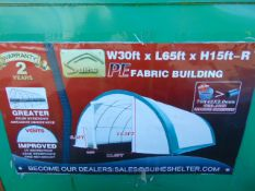 65ft Lx 30ft W x 15ft H Relocatable Heavy Duty Storage Shelter New Unissued