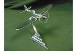 LOVELY DESK TOP ALUMINIUM MODEL P51 MUSTANG WITH STAND