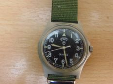 BRITISH ARMY W10 SERVICE WATCH, NATO MARKINGS DATED 1998, *NEW BATTERY & STRAP*
