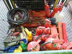 VARIOUS VEHICLE CES ITEMS INCLUDING VEHICLE JACK, FIRE EXTINGUISHERS, TOOLS, TYRE INFLATORS ETC.