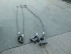 2 x AFV RECOVERY WIRE ROPE ASSEMBLIES WITH 2 x BOW SHACKLES