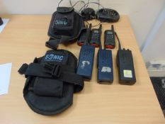 6 x HAND HELD RADIOS, CHARGER & 2 x CARRYING POUCHES
