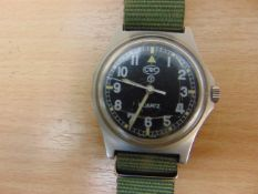 CWC W10 SERVICE WATCH BRITISH ARMY ISSUE, NATO MARKINGS, DATED 2005 *NEW BATTERY AND STRAP*