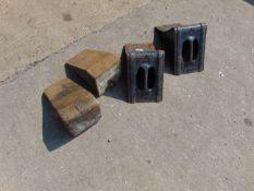 4 x WHEEL CHOCKS, 2 WOODEN 2 METAL