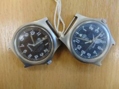 2X RARE 0552 ROYAL MARINE ISSUE CWC SERVICE WATCHES DATED 1989/1989