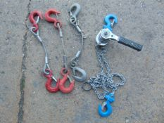 Samson 1/4T Lever Block & 3 x 250kg wire ropes with hooks.