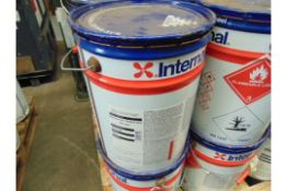 3X UNISSUED 2OL DRUMS of INTERNATIONAL INTERSMOOTH 7460HS ANTI FOULING PAINT BROWN MOD RESERVE STOCK