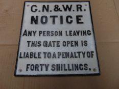 GN & WR CAST IRON RAILWAY SIGN 26cms x 28cms