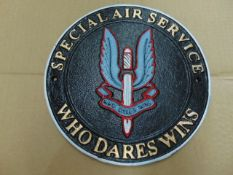 SAS CAST IRON 24 CMS DIA HAND PAINTED WALL PLAQUE