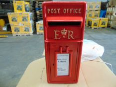 ER RED POST BOX C/W KEYS, COLLECTION TIMES, ETC