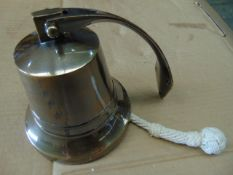 BRONZE SHIPS BELL WITH HANGER AND ROPE FOR WALL MOUNTING