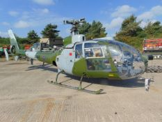 GAZELLE XZ 325 SN.1675 TURBINE HELICOPTER FROM UK MINISTRY OF DEFENCE With paperwork as shown.