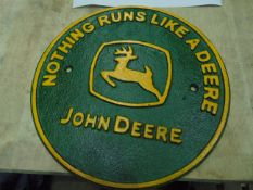 Cast Iron John Deere Tractor Sign, Approx 8 Inch Dia
