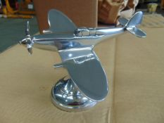 POLISHED ALUMINIUM DESKTOP MODEL OF A SPITFIRE C/W STAND AND ROTATING PROP