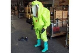 10 x Respirex Tychem TK Gas-Tight Hazmat Suit Type 1A with Attached Boots and Gloves