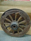 VERY RARE ANTIQUE WOODEN WAGON WHEEL WITH STEEL RIM, WOODEN SPOKES - 85 CMS