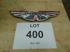 Aston Martin Polished Aluminium Hand Painted Hanging Sign 31cms x 8cms