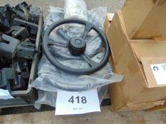 5 x New Unissued 16 in 3 spoke steering wheels as shown