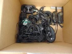 BOX OF MOTOROLA RADIOS, BATTERY CHARGES,. ETC