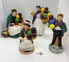 Royal Doulton figures of Balloon seller figures - model nos. H.N 2818, 1315, 2935, 1843 four items
