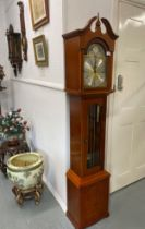 Richard Broad of Bodmin, Cornwall - Grandmother clock with arched brass and silvered dial with