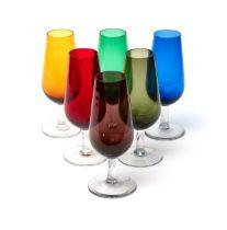 Six multi-coloured mid-century glass flutes