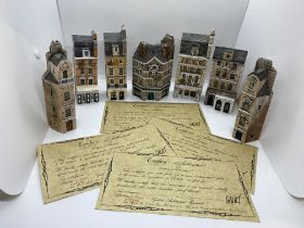 Seven pieces of hand made Gault architectural themed miniature ceramics; London House collection (