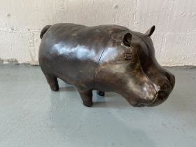 A leather clad hippo footstool/small seat/decorator's piece by Omersa, approx. 60cm long 25cm