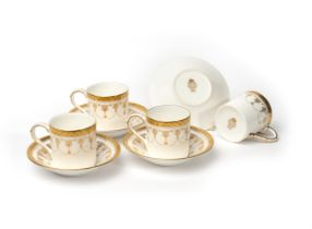 Royal Worcester Fine Bone China 'Imperial' gilt design, four Espresso cup and saucers