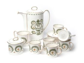 Susie Cooper fine bone china coffee set of Assyrian motif design, consisting x6 cups with saucers,