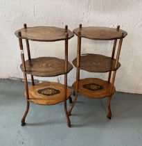 Two antique three their four legged display tables with inlaid detailing A/F