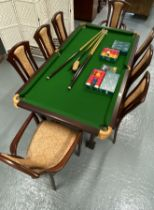 """A spectacular Riley pool/snooker dining table with claw and ball feet, approx. L77xW41"""" Complete"""