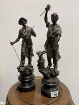 Two spelter figures depicting blacksmiths at work, max H45cm